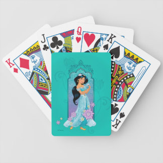 Princess Jasmine Floral Frame Bicycle Playing Cards