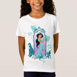 Princess Jasmine,  Rajah & Abu Floral 2 T-Shirt