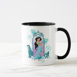 Princess Jasmine,  Rajah & Abu Floral Mug