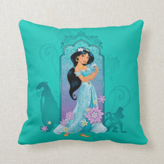 Princess Jasmine,  Rajah & Abu Floral Throw Pillow