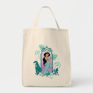 Princess Jasmine,  Rajah & Abu Floral Tote Bag