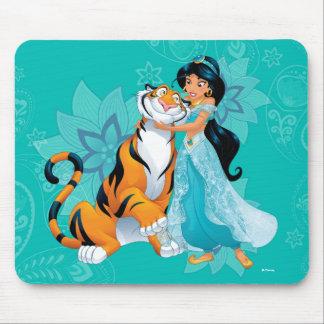 Princess Jasmine & Rajah Floral Mouse Pad