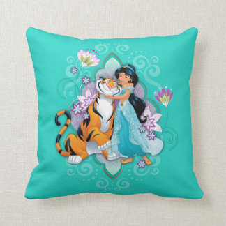 Princess Jasmine & Rajah Floral Throw Pillow