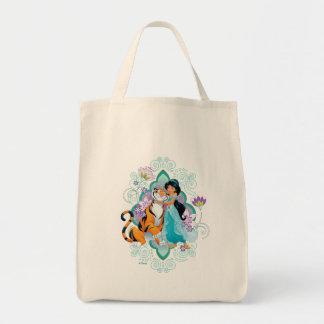 Princess Jasmine & Rajah Floral Tote Bag