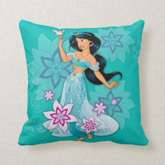 Princess Jasmine with Bird Floral Throw Pillow