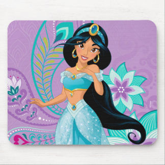 Princess Jasmine with Feathers & Flowers Mouse Pad