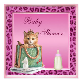 Princess Kitten Pink Faux Leopard Fur Baby Shower Card
