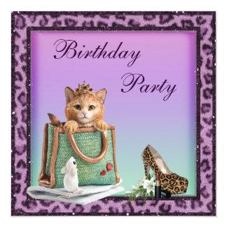 Princess Kitten Purple Faux Leopard Fur Birthday Card