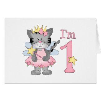 Princess Kitty 1st Birthday Greeting Cards