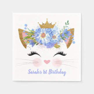 Princess Kitty Babys First Birthday Paper Napkins