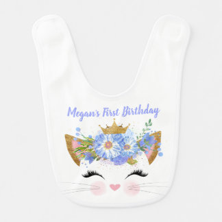 Princess Kitty First Birthday Custom Baby Bib