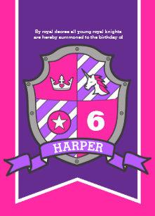 Princess Knights Shield Kids 6th Birthday Invites