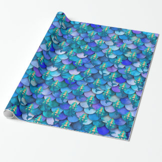 Princess mermaid on blue and purple mermaid scale wrapping paper