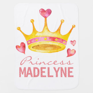 Princess Monogrammed Any Girls Name | Custom Tiara Baby Blanket