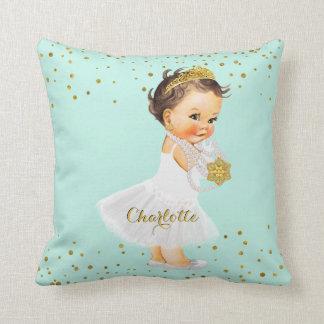 Princess Nursery Mint Gold   Baby Girl Name Throw Pillow