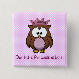 Princess owl 2 inch square button