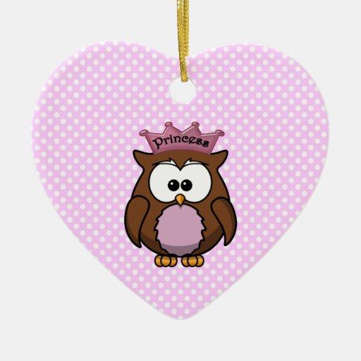 Princess owl christmas tree ornament