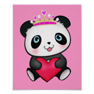 Princess Panda Poster Sweet Gift for Girls Bedroom