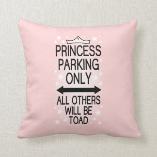 Princess Parking Only Throw Pillow