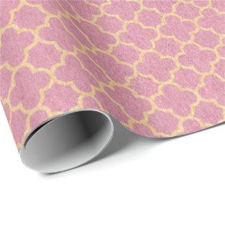 Princess Pastel Pink Rose Art Deco Quatrefoil Wrapping Paper