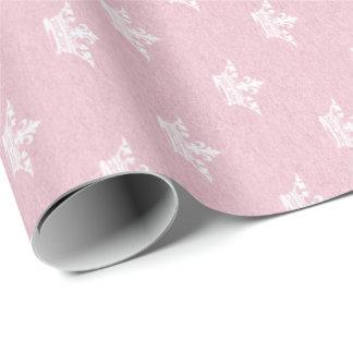 Princess Pastel Pink Rose Kraft Crown White Wrapping Paper