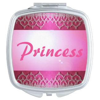 Princess Pink Beaded Look Cosmetic Mirror Gift