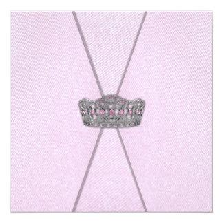 "Princess Pink Invitations 5.25"" Square Invitation Card"