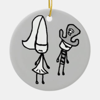 Princess & Pirate Doodle Collectible Ceramic Ornament