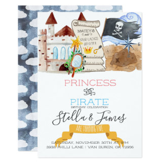 Princess & Pirate Joint Birthday Party Card