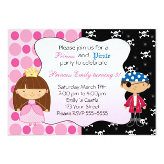 Princess Pirate Kids Birthday Party Invitations