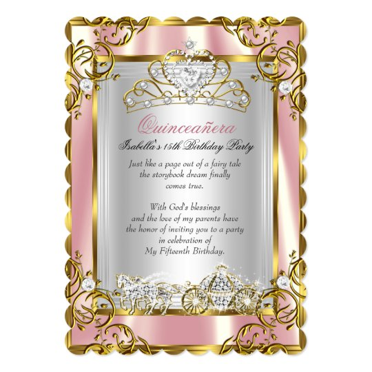 Princess Quinceanera 15th Birthday Pink Peach 2 Card