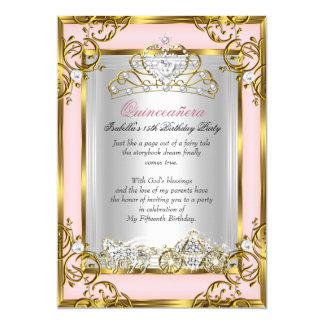 "Princess Quinceanera 15th Birthday Pink Peach 5"" X 7"" Invitation Card"