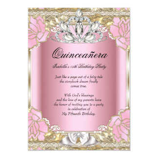"""Princess Quinceanera Pink Gold 15th Birthday Party 5"""" X 7"""" Invitation Card"""