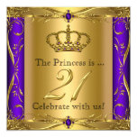 "Princess Regal Purple Gold 21st Birthday Party 5.25"" Square Invitation Card"