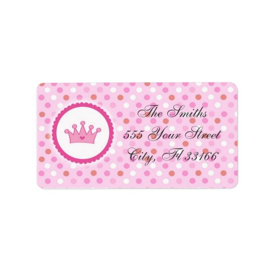 Princess Return Address Labels Pink