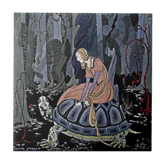 Princess Rides a Turtle Illustration Ceramic Tile