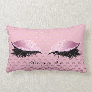 Princess Rose Gold Glitter Lashes Name Crown Lumbar Pillow