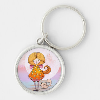 Princess Silver-Colored Round Keychain