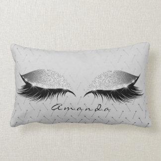 Princess Silver Gray Glitter Black Makeup Name Lumbar Pillow