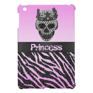 Princess Skull Diamonds Zebra Print iPad Mini Case