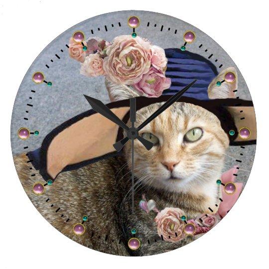 PRINCESS TATUS /ELEGANT CAT,BIG DIVA HAT AND ROSES LARGE CLOCK