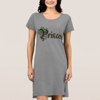 Princess Text Written in Green Color Gradient Dress