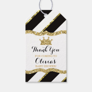 Princess Thank You Tag, Black, Faux Glitter, Crown Pack Of Gift Tags
