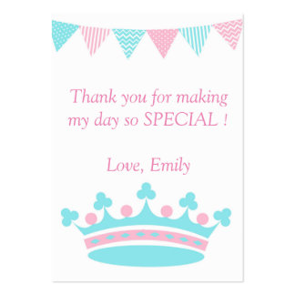 Princess Thank You Tag Label Pink Aqua Large Business Card