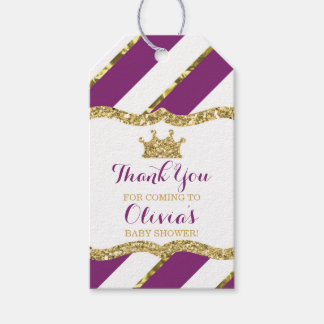 Princess Thank You Tag, Purple Faux Glitter, Crown Pack Of Gift Tags