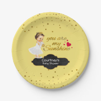 Princess Tiara Baby Girl Shower | My Sunshine Gold Paper Plate