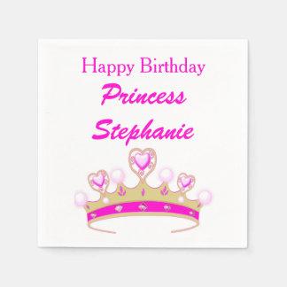 Princess Tiara Crown Pink Happy Birthday Girly Disposable Napkins