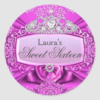 Princess Tiara & Damask Sweet Sixteen Sticker
