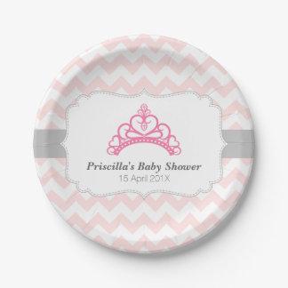 Princess Tiara Pink Chevron Baby Shower Plates 7 Inch Paper Plate