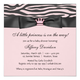 Princess Tiara Pink Zebra Girl Baby Shower Card
